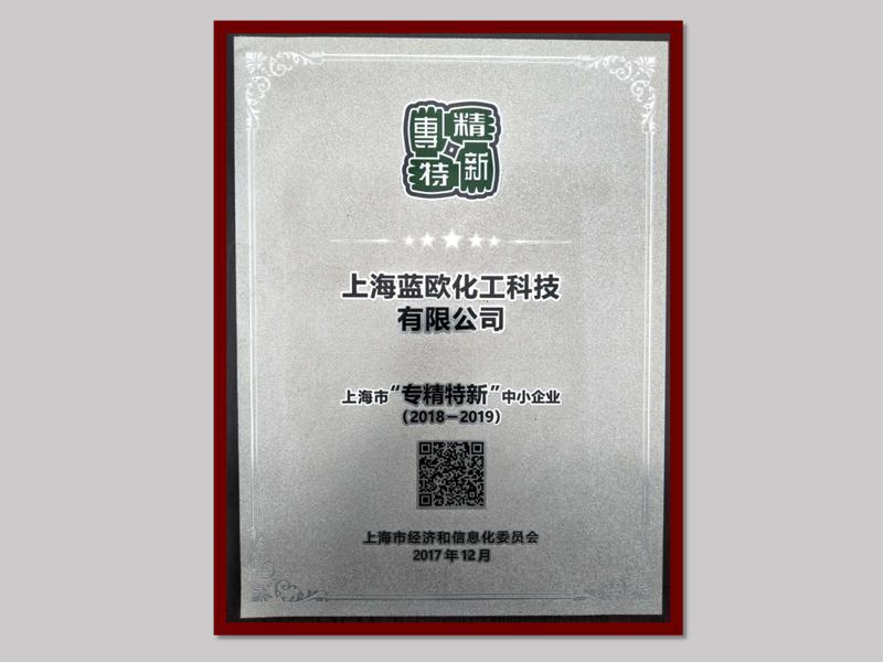 """2017年,上海e世博app获得上海市""""专精特新""""中小企业。"""
